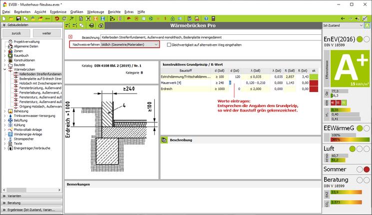 EVEBI - Wärmebrücken Pro: Dialog - Detail Wärmebrücke gem. Gleichwertigkeistnachweis DIN  4108 Bbl. 2