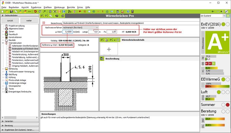 EVEBI - Wärmebrücken Pro: Dialog - Detail Wärmebrücke gem. Rechnerischer Gleichwertigkeistnachweis DIN  4108 Bbl. 2