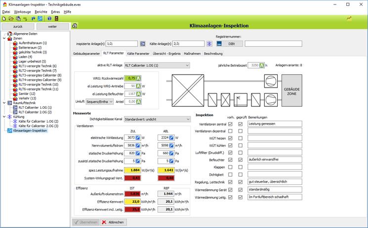 Klimaanlagen-Inspektor: Daten zur RLT