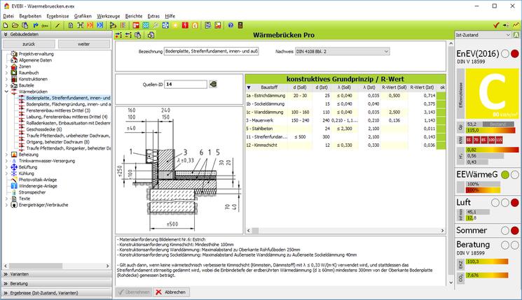 Wärmebrücken-Nachweis: Dialog - Detail Wärmebrücke gem. Gleichwertigkeistnachweis DIN  4108 Bbl 2