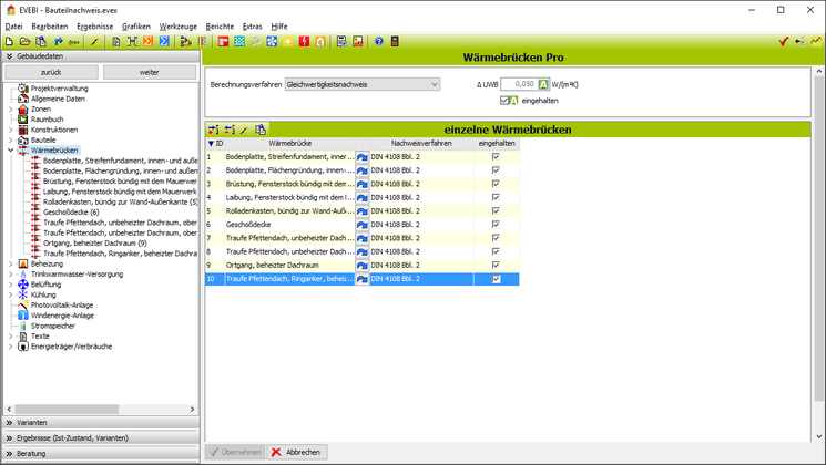 EVEBI Energieberatersoftware - Wärmebrückenberechnung - Gleichwertigkeitsnachweis nach DIN 4108 Bbl 2