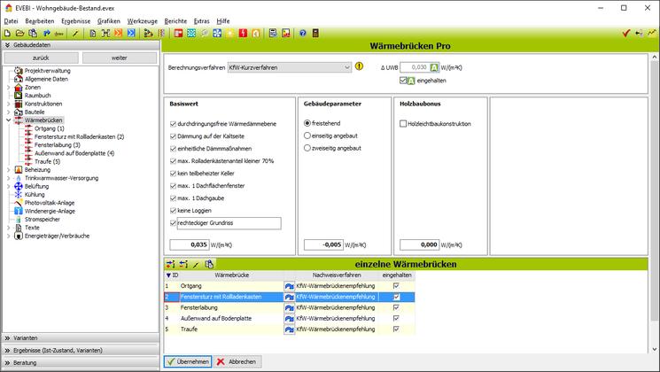 EVEBI Energieberatersoftware - Wärmebrückenberechnung - Gleichwertigkeitsnachweis und KfW-Kurzverfahren