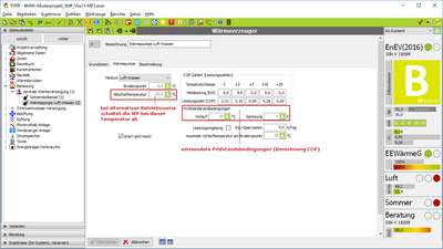 Wärmepumpe: Prüfdaten bei Alternativbetrieb