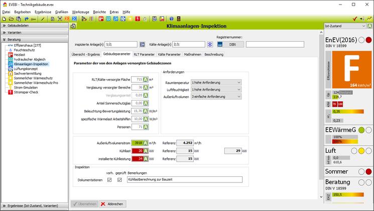 EVEBI Energieberatersoftware - Klimaanlageninpektion - Gebäudeparameter