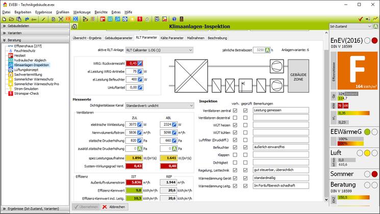 EVEBI Energieberatersoftware - Klimaanlageninpektion - RLT