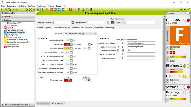 EVEBI Energieberatersoftware - Klimaanlageninpektion - Kältemaschinen