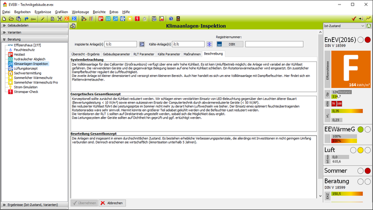 EVEBI Energieberatersoftware - Klimaanlageninpektion - Ergebnisbericht