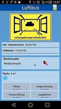 EVEBI Energieberatersoftware - App Lüften