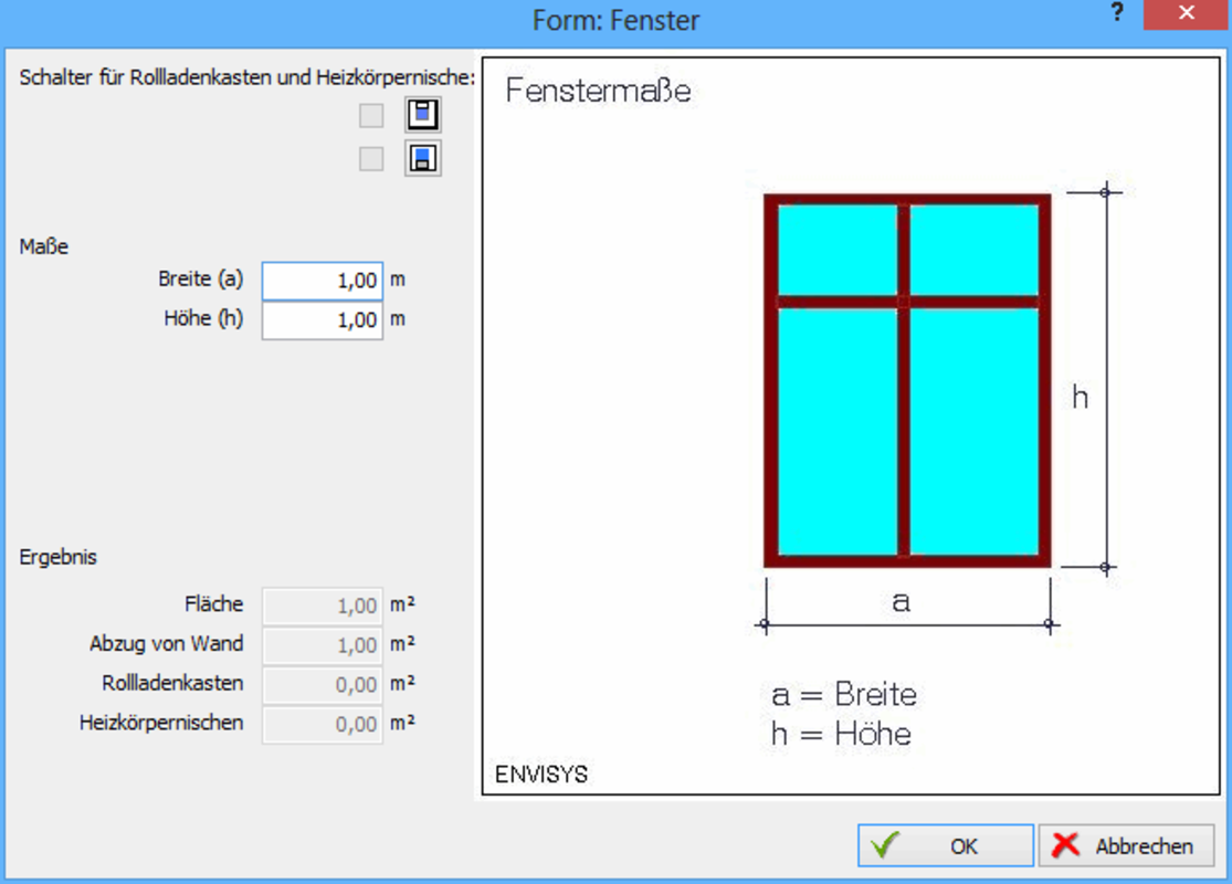 Fenstermaße tabelle  ENVISYS: Fensterflächen erfassen
