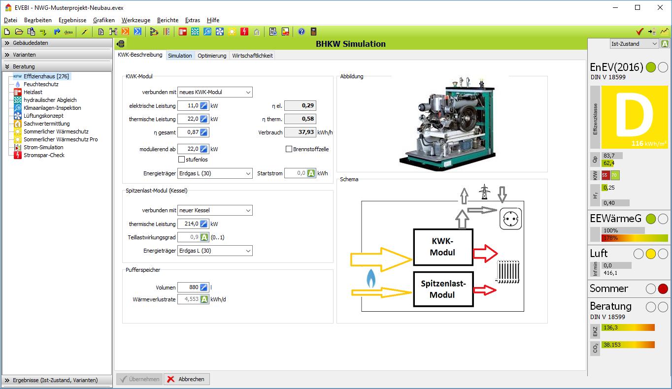 EVEBI - BHKW Simulation: Anlagendaten