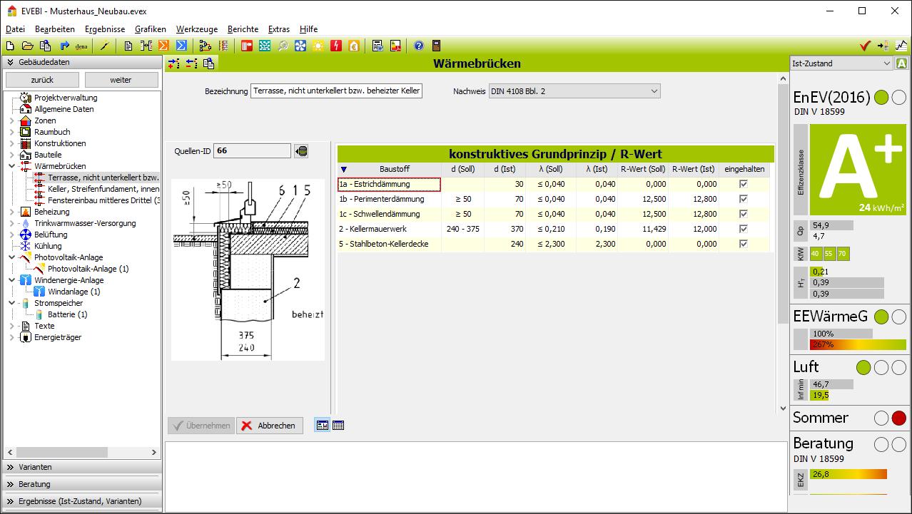 EVEBI Energieberatersoftware - Wärmebrückenberechnung