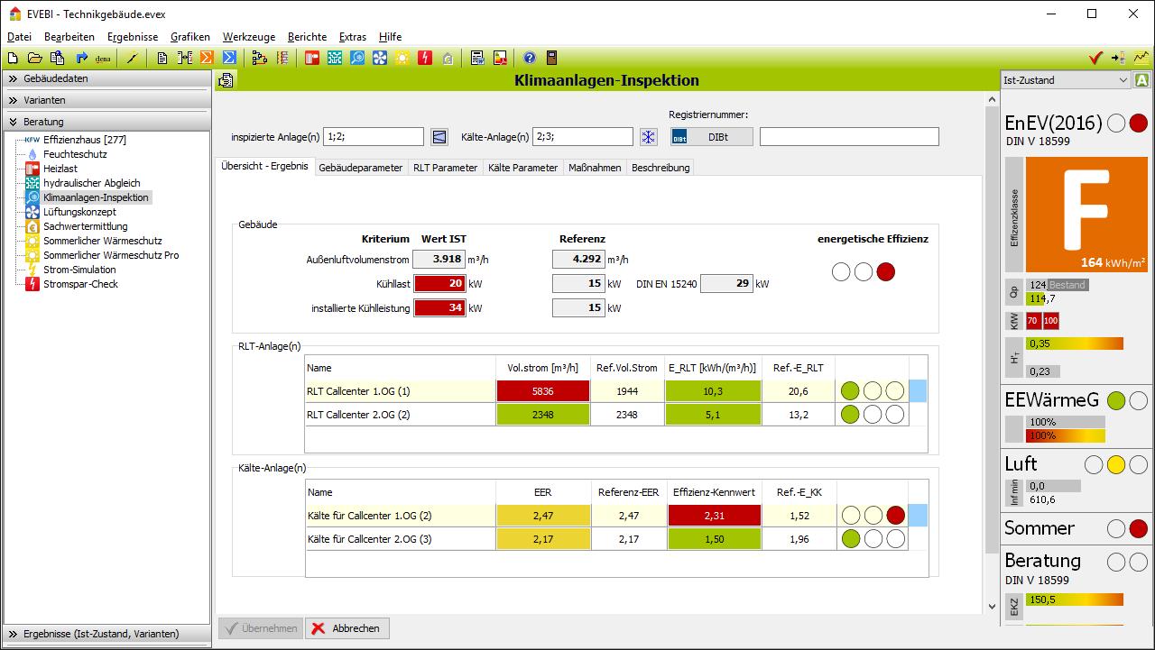 EVEBI Energieberatersoftware - KlimaanlageninpektionEVEBI Energieberatersoftware