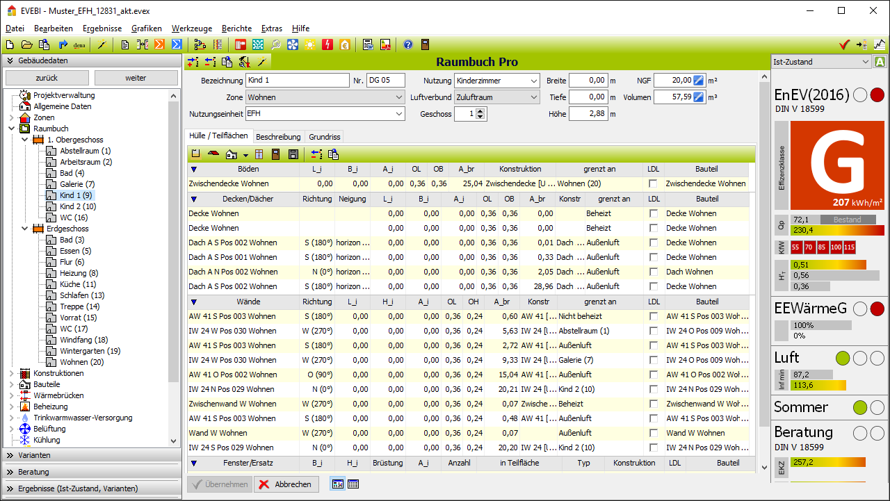 EVEBI Energieberatersoftware - Raumerfassung
