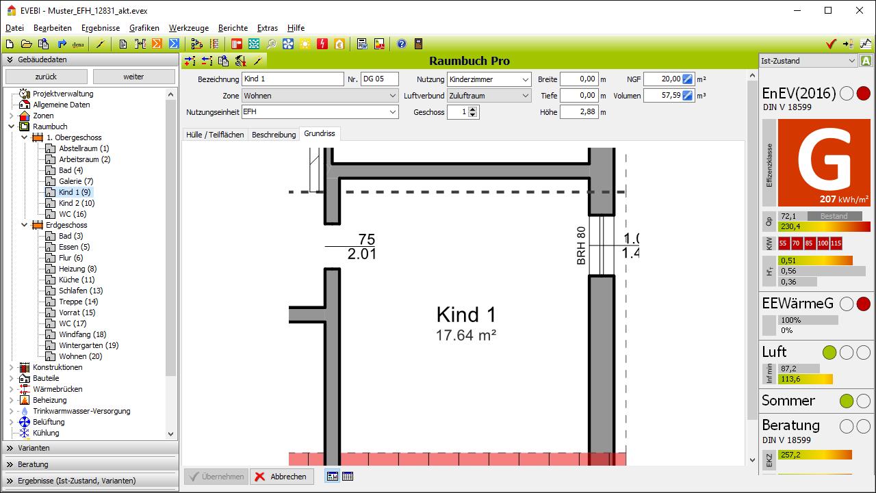 EVEBI Energieberatersoftware - Raumerfassung - CAD-Import, IFC