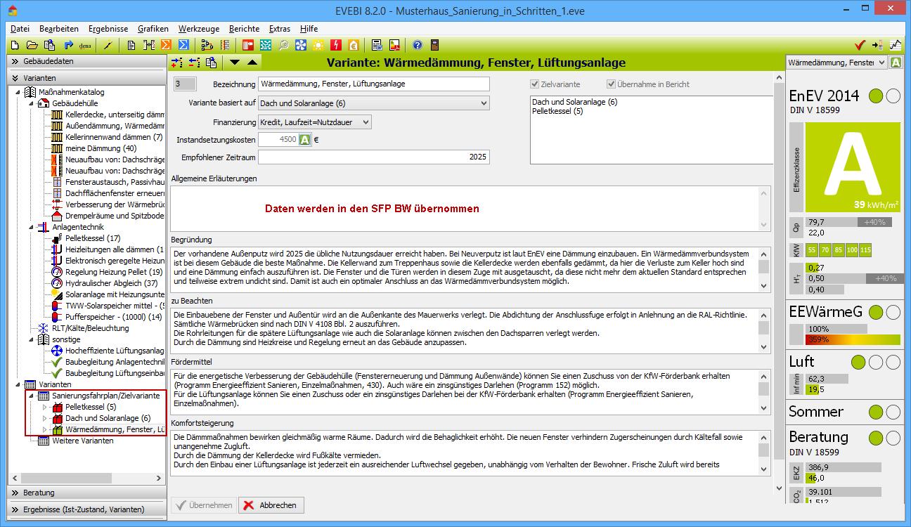 EVEBI Energieberatersoftware - Sanierungsfahrplan Baden-Württemberg