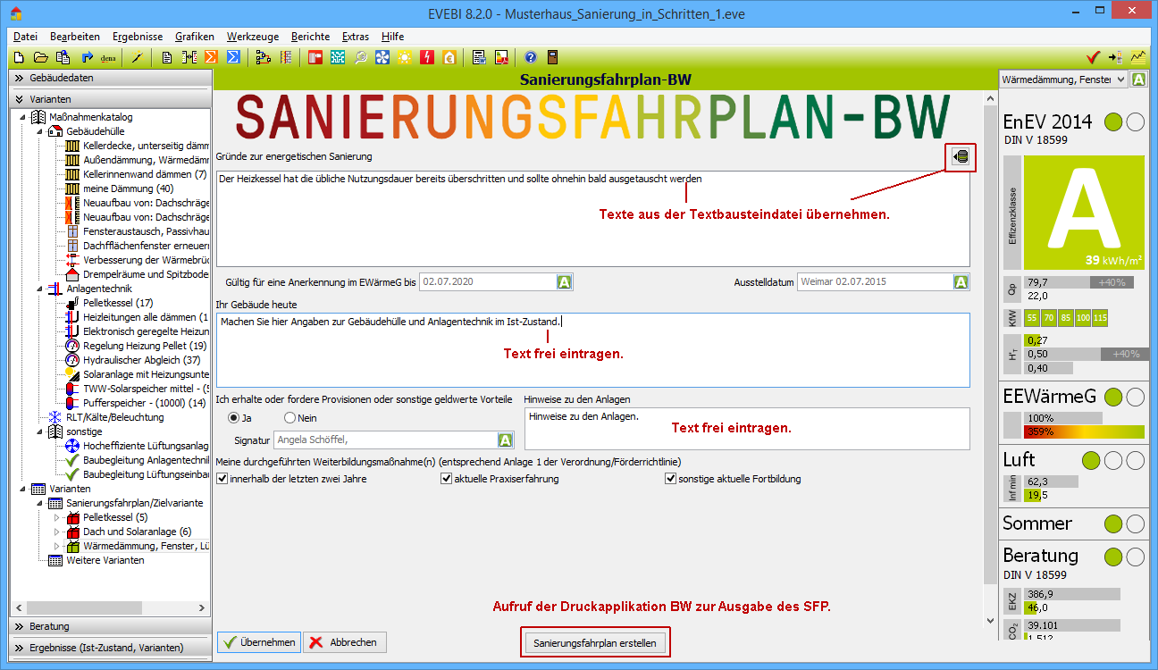 EVEBI Energieberatersoftware - Sanierungsfahrplan Baden-Württemberg - Textbearbeitung