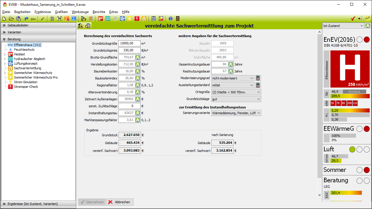 EVEBI Energieberatersoftware - Sachwertermittlung