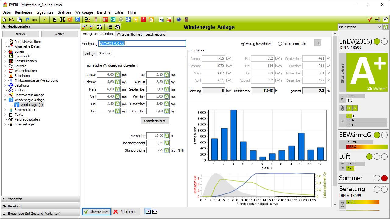 EVEBI Energieberatersoftware - Windenergieanlage - Erfassung