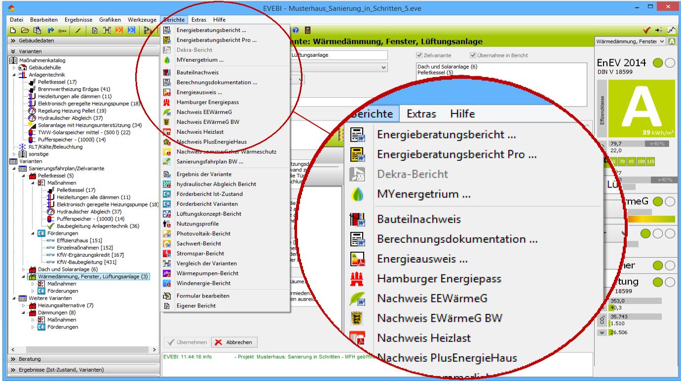 EVEBI Energieberatersoftware - Berichte