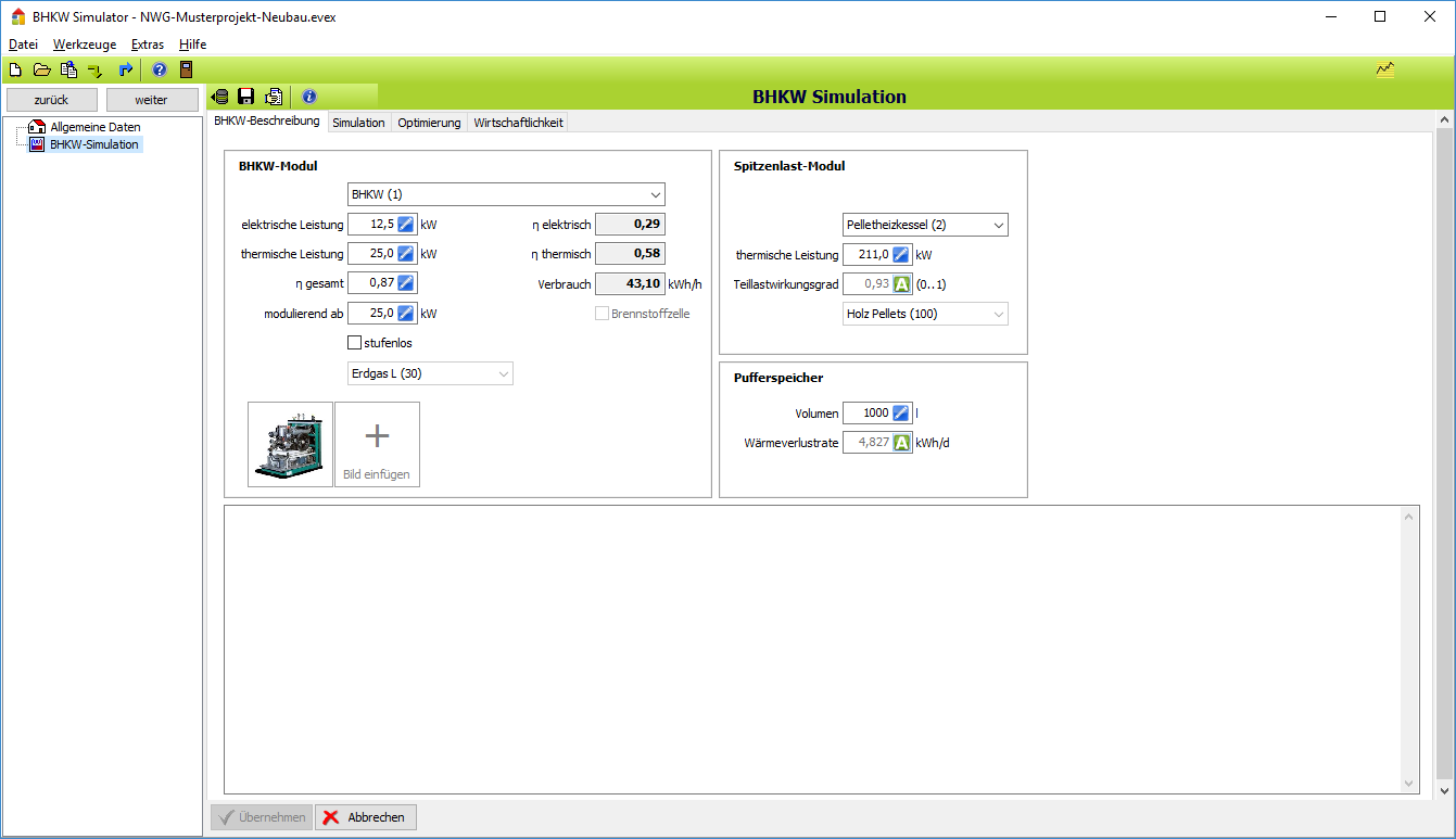 BHKW-Simulator: Daten zur Anlage