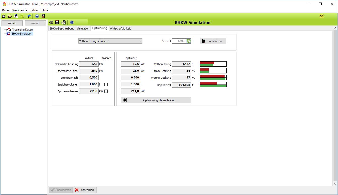 BHKW-Simulator: Optimierung Vollbenutzungsstunden
