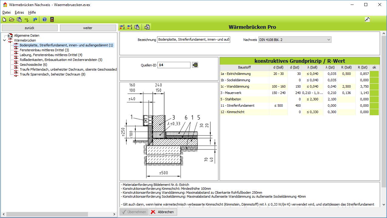 Wärmebrücken-Nachweis - Gleichwertigkeitsnachweis nach DIN V 4108 Bbl. 2